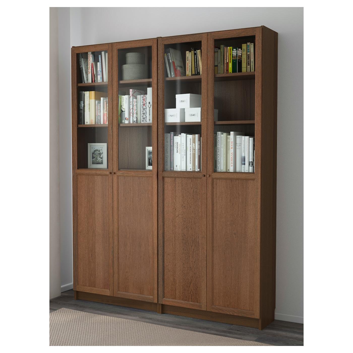 Billy oxberg bookcase brown ash veneer 160x202x30 cm ikea - Ikea billy porte vitree ...
