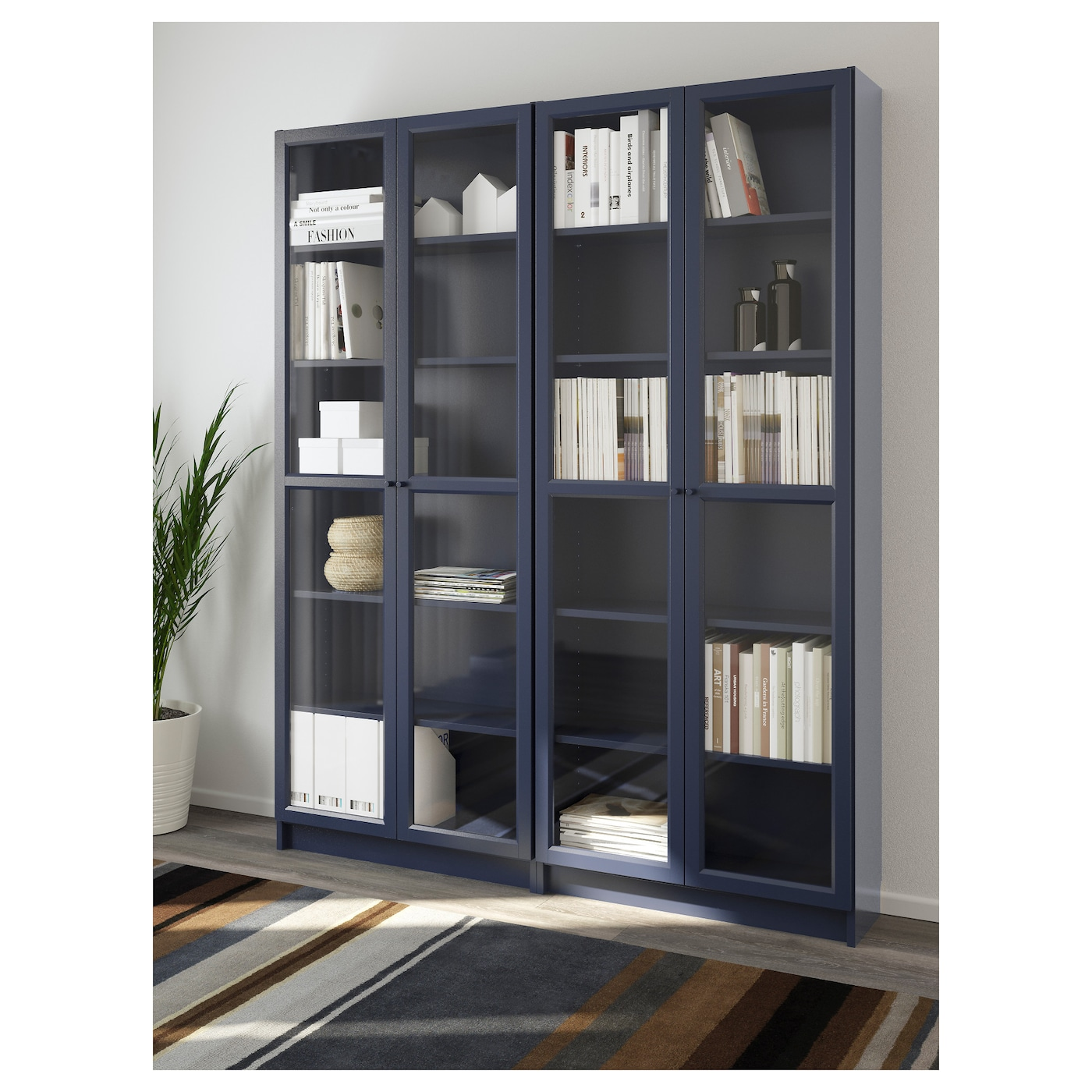 billy oxberg bookcase dark blue 160x202x30 cm ikea. Black Bedroom Furniture Sets. Home Design Ideas