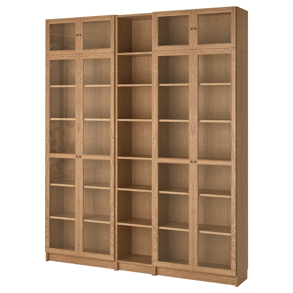 BILLY / OXBERG Bookcase, oak veneer, 200x30x237 cm