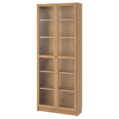 BILLY / OXBERG Bookcase, oak veneer, 80x30x202 cm