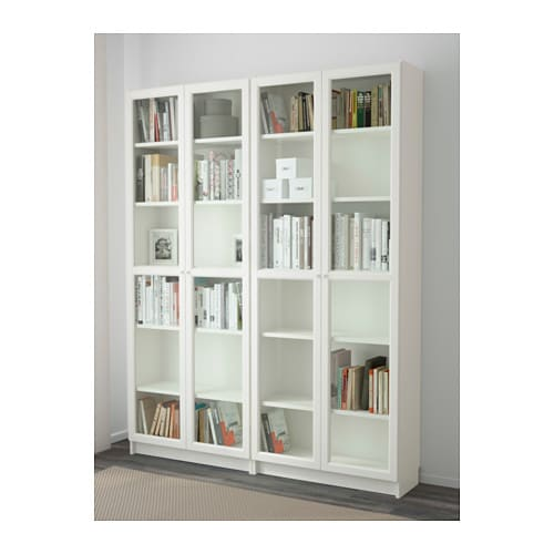 Billy oxberg bookcase white glass 160x202x30 cm ikea for Billy libreria ikea