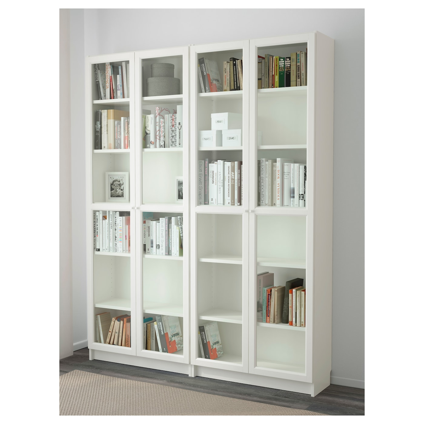 billy oxberg bookcase white glass 160x202x30 cm ikea. Black Bedroom Furniture Sets. Home Design Ideas