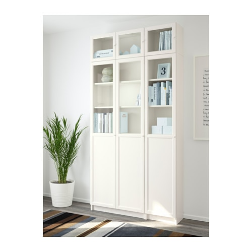 billy oxberg bookcase white glass 120x237x30 cm ikea. Black Bedroom Furniture Sets. Home Design Ideas