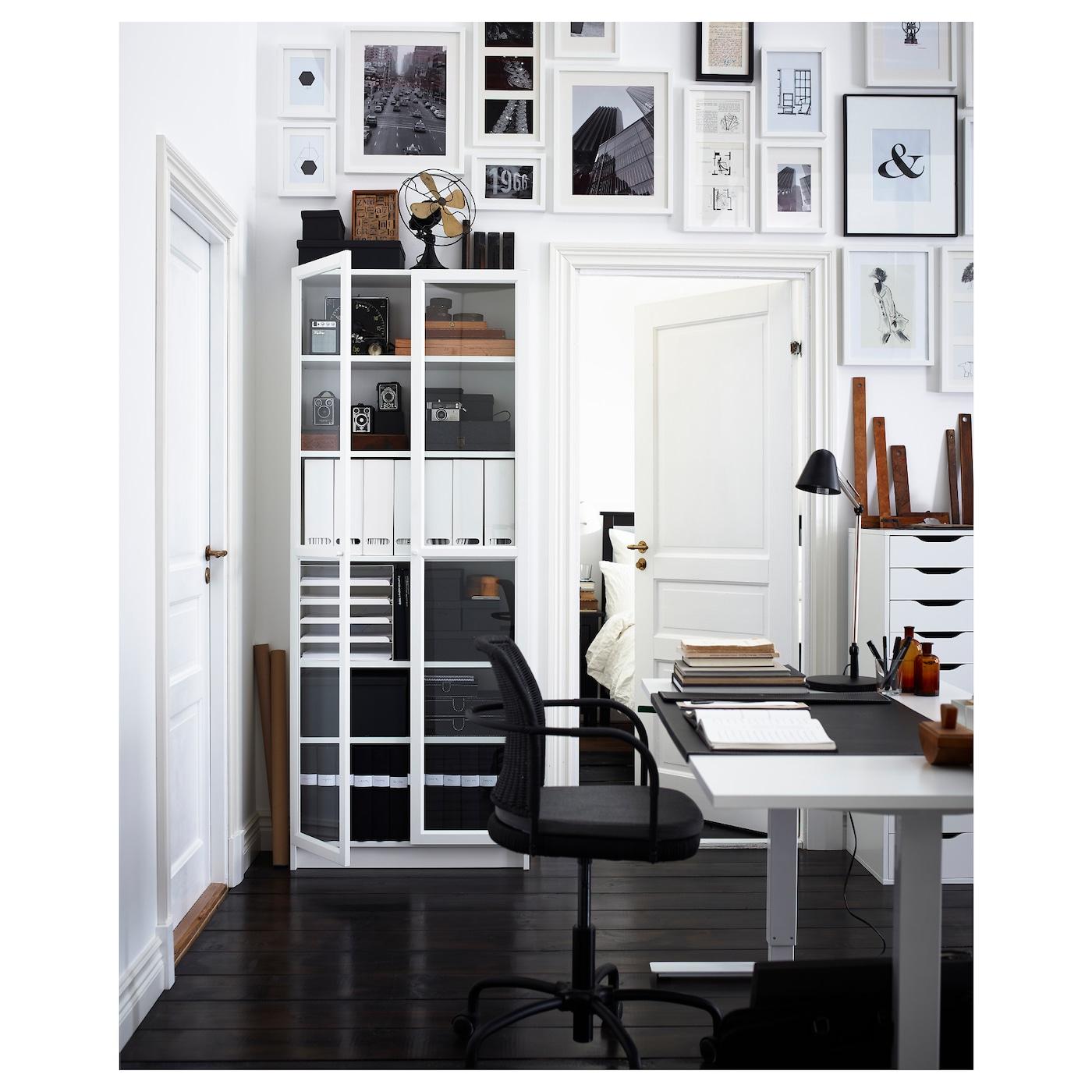billy oxberg bookcase white 80 x 202 x 30 cm ikea. Black Bedroom Furniture Sets. Home Design Ideas
