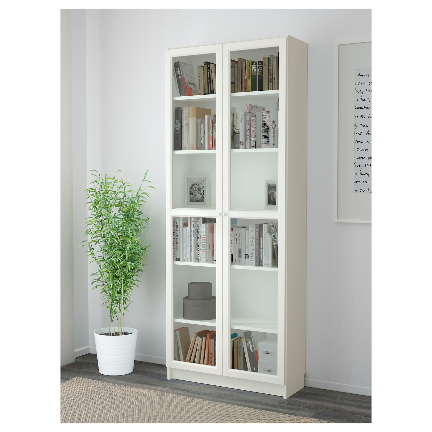 billy oxberg bookcase white 80 x 202 x 30 cm ikea. Black Bedroom Furniture Sets. Home Design Ideas