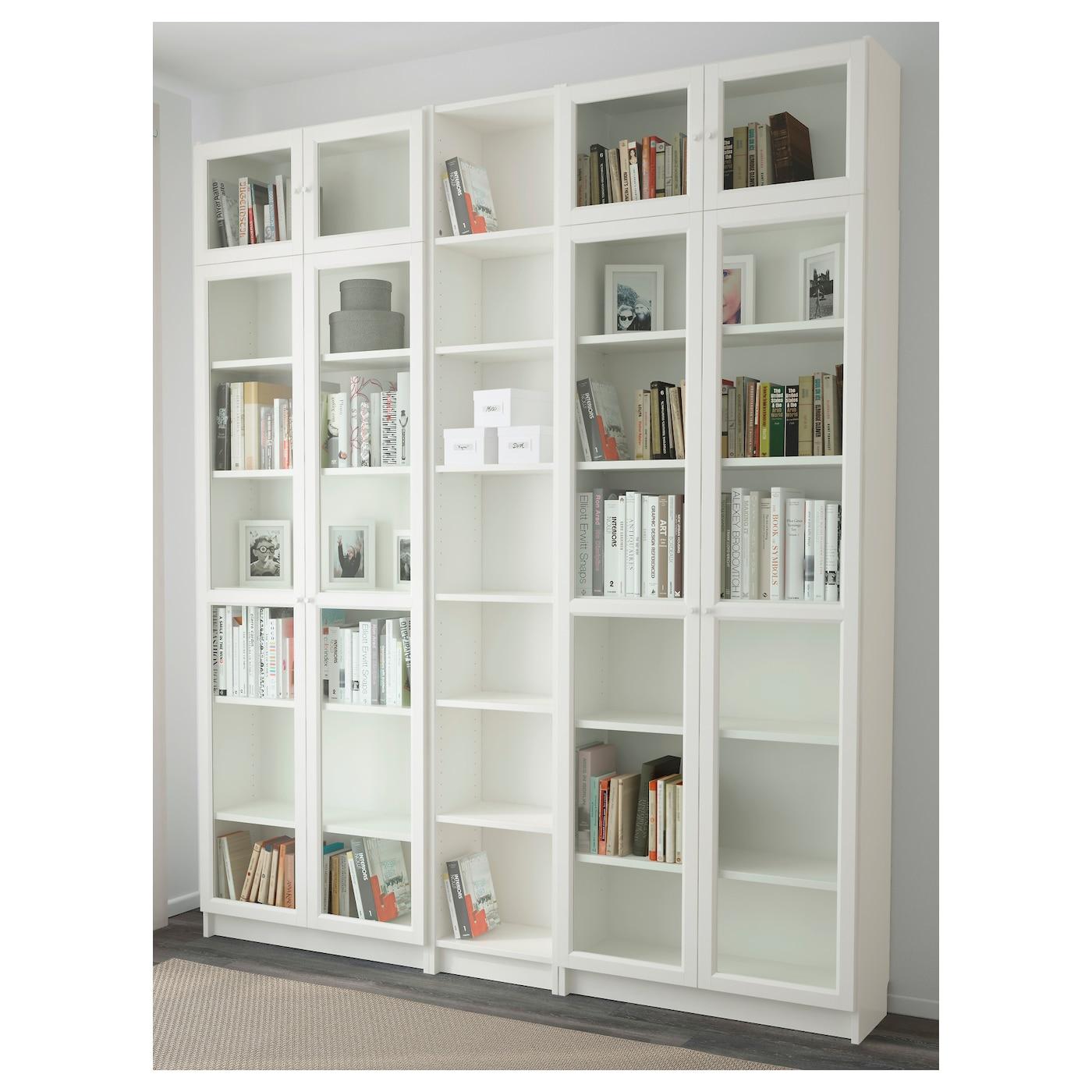 Billy oxberg bookcase white 200x237x30 cm ikea for Small white bookcase ikea