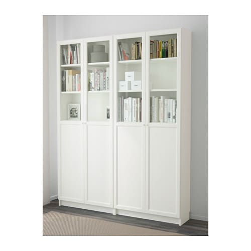 billy oxberg bookcase white 160x202x30 cm ikea. Black Bedroom Furniture Sets. Home Design Ideas