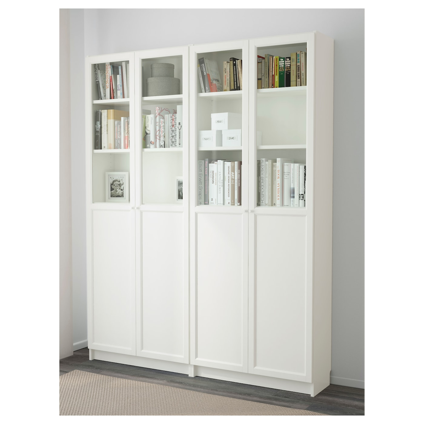 billy oxberg bookcase white 160 x 202 x 30 cm ikea. Black Bedroom Furniture Sets. Home Design Ideas