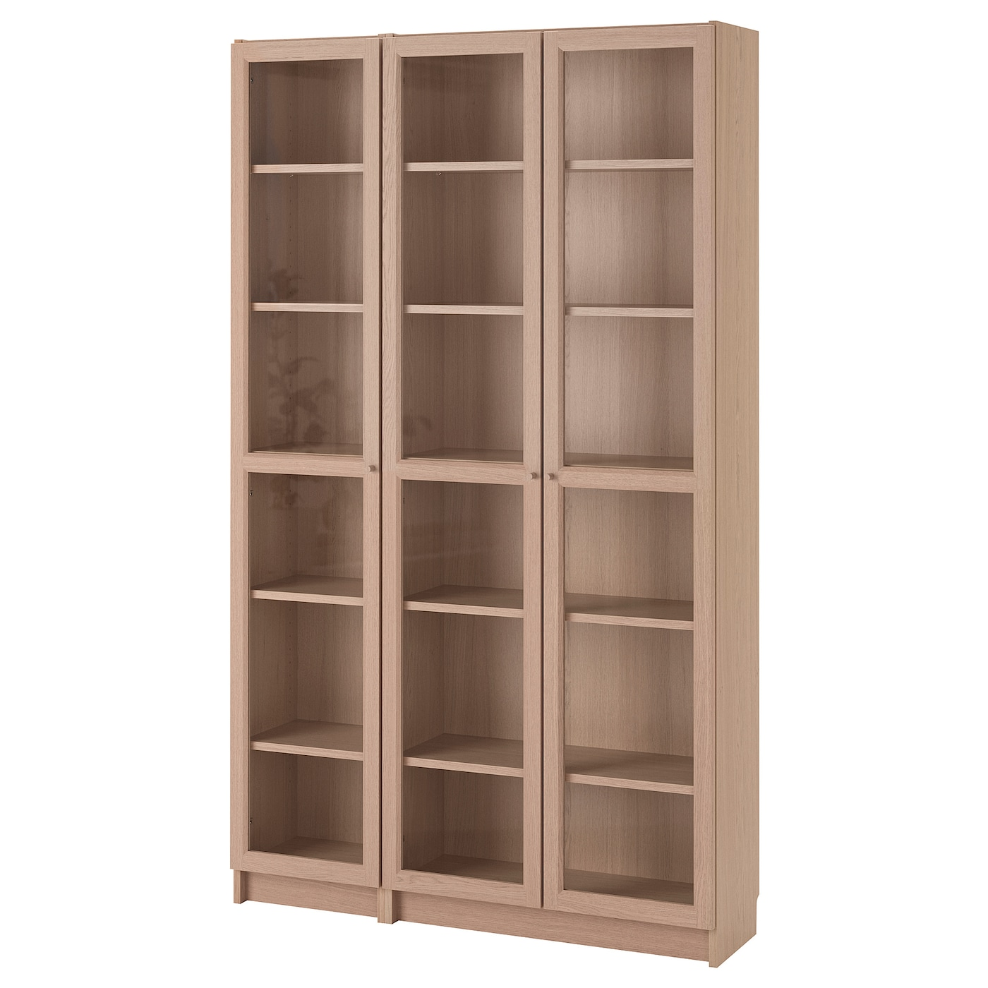 IKEA BILLY/OXBERG bookcase with glass-doors Surface made from natural wood veneer.