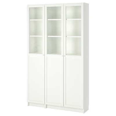 BILLY / OXBERG Bookcase with panel/glass doors, white/glass, 120x30x202 cm