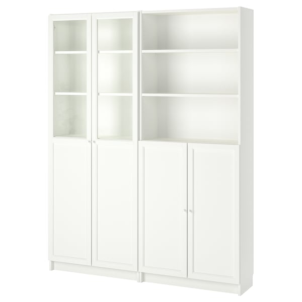 BILLY / OXBERG Bookcase with panel/glass doors, white, 160x30x202 cm
