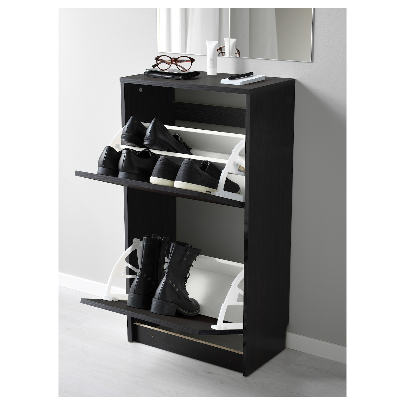Ikea Shoe Drawers Bissa Shoe Cabinet With 2 Compartments Black Brown 49x93 Cm Ikea