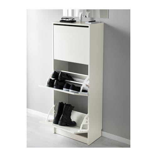 BISSA Shoe cabinet with 3 compartments White 49×135 cm   IKEA
