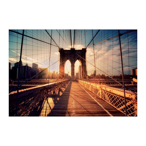 BJRKSTA Picture Brooklyn Bridge At Sunset 118x78 Cm IKEA