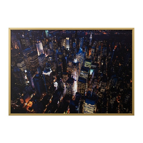 BJÖRKSTA Picture with frame City lights, new york/brass-colour 200 x ...