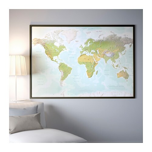 BJÖRKSTA Picture with frame Planet earth/black 200 x 140 cm - IKEA