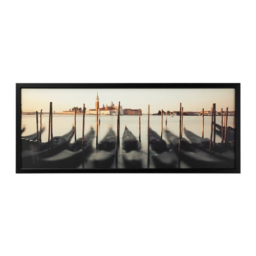 BJÖRKSTA Picture with frame Venetian viewpoint/black 140 x 56 cm - IKEA