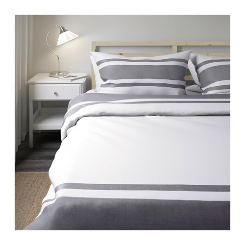 bj rnloka quilt cover and 4 pillowcases white black 200x200 50x80 cm ikea. Black Bedroom Furniture Sets. Home Design Ideas