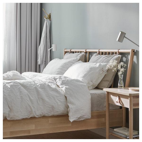 BJÖRKSNÄS Bed frame, birch/Leirsund, Standard Double