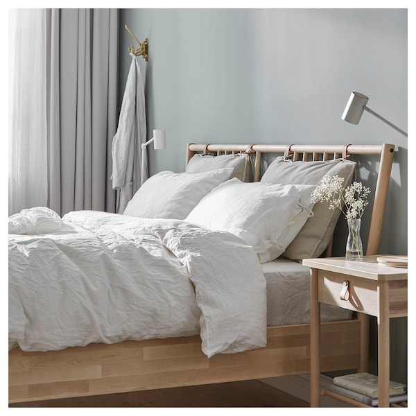 BJÖRKSNÄS Bed frame, birch/Luröy, Standard Double