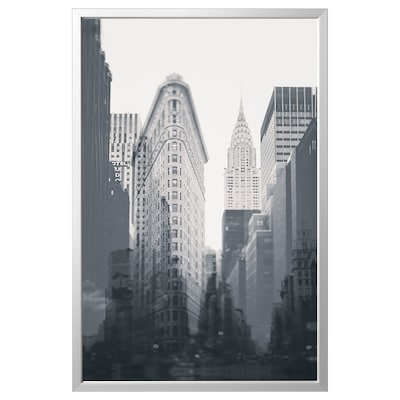 BJÖRKSTA picture with frame New York City/aluminium-colour 118 cm 78 cm