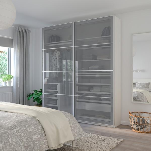 BJÖRNÖYA Pair of sliding doors, grey tinted effect, 200x201 cm