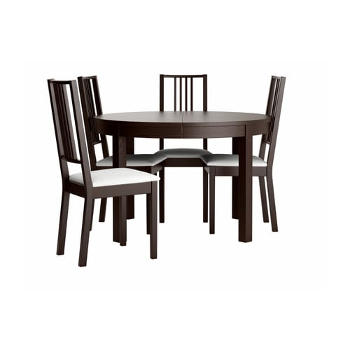 Bjursta b rje table and 4 chairs brown black gobo white for Black dining sets with 4 chairs