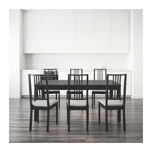 Bjursta b rje table and 6 chairs brown black gobo white - Ikea table noire ...