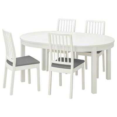 BJURSTA / EKEDALEN Table and 4 chairs, white/Ramna light grey, 115 cm