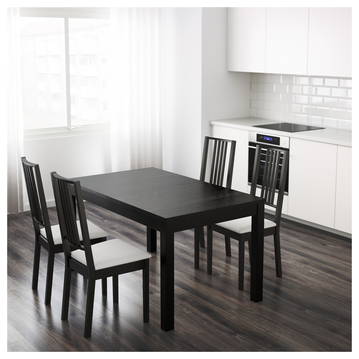 bjursta extendable table brown black 140 180 220 x 84 cm ikea. Black Bedroom Furniture Sets. Home Design Ideas