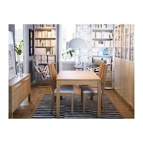 Patricia Barros Artesanato ~ BJURSTA Extendable table Oak veneer 140 180 220×84 cm IKEA