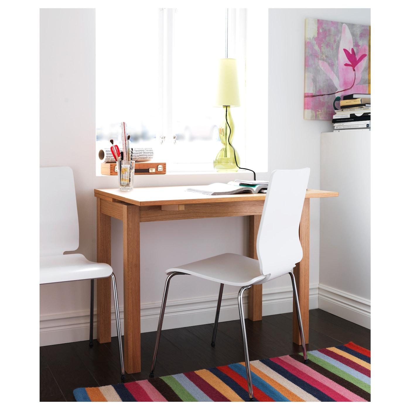 Patricia Barros Artesanato ~ BJURSTA Extendable table Oak veneer 50 70 90×90 cm IKEA