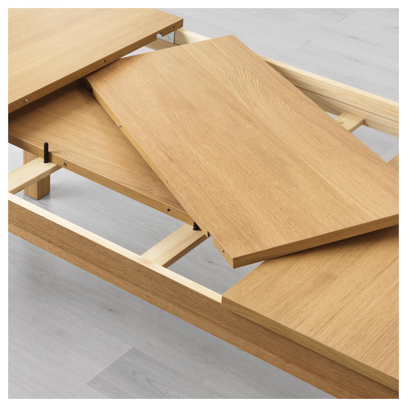 bjursta extendable table oak veneer x cm  ikea - ikea bjursta extendable table  extension leaves included