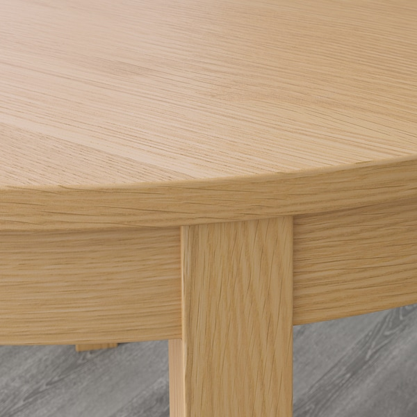 Bjursta Oak Veneer Extendable Table Max Length 166 Cm Ikea