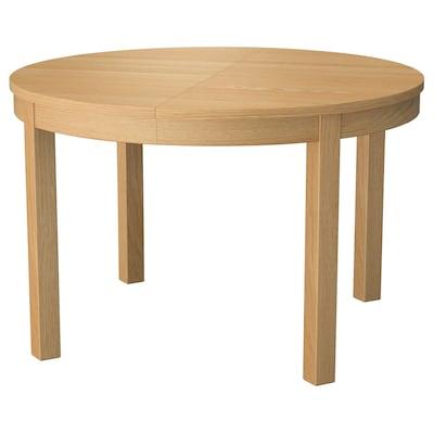 BJURSTA Extendable table, oak veneer, 115/166 cm