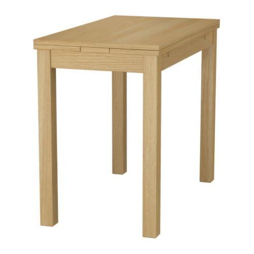 Bjursta Extendable Table Oak Veneer 50 70 90x90 Cm Ikea