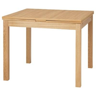 BJURSTA Extendable table, oak veneer, 90/129/168x90 cm