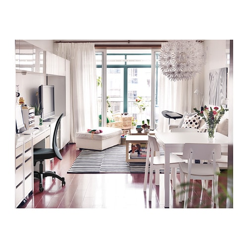 bjursta extendable table white 90 129 168x90 cm ikea. Black Bedroom Furniture Sets. Home Design Ideas
