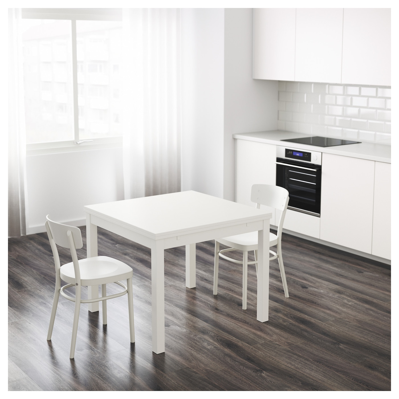 Bjursta extendable table white 90 129 168x90 cm ikea for Table ikea blanche