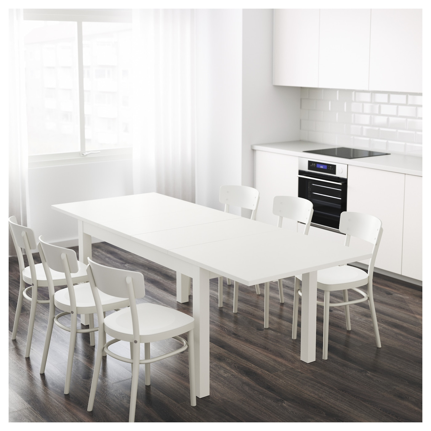 bjursta extendable table white 140 180 220x84 cm ikea. Black Bedroom Furniture Sets. Home Design Ideas