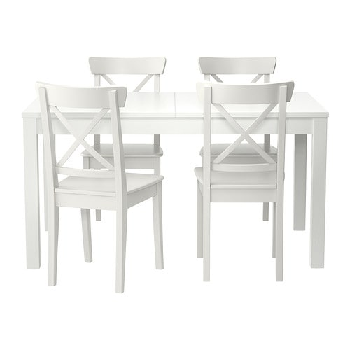 IKEA BJURSTA/INGOLF table and 4 chairs The clear-lacquered surface is easy to wipe clean.