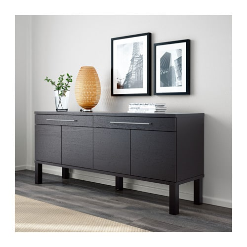 bjursta sideboard brown black 155x68 cm ikea. Black Bedroom Furniture Sets. Home Design Ideas
