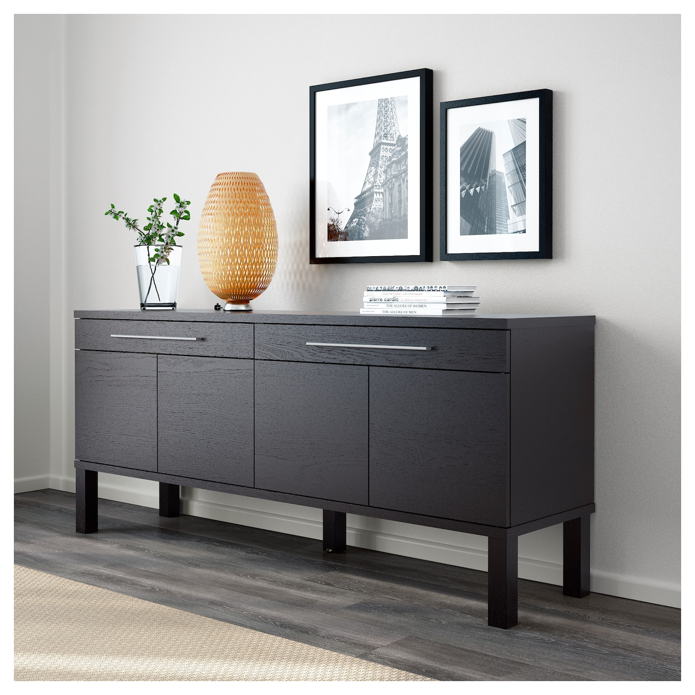 Bjursta sideboard brown black 155x68 cm ikea for Sideboard ikea