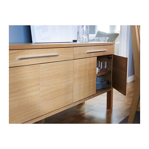 bjursta sideboard oak veneer 155x68 cm ikea. Black Bedroom Furniture Sets. Home Design Ideas