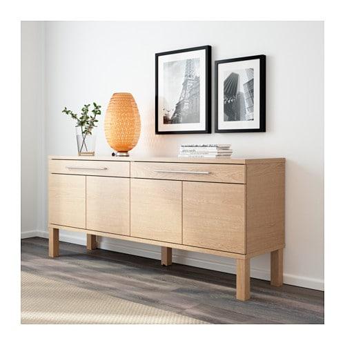 bjursta sideboard oak veneer 155x68 cm ikea. Black Bedroom Furniture Sets. Home Design Ideas