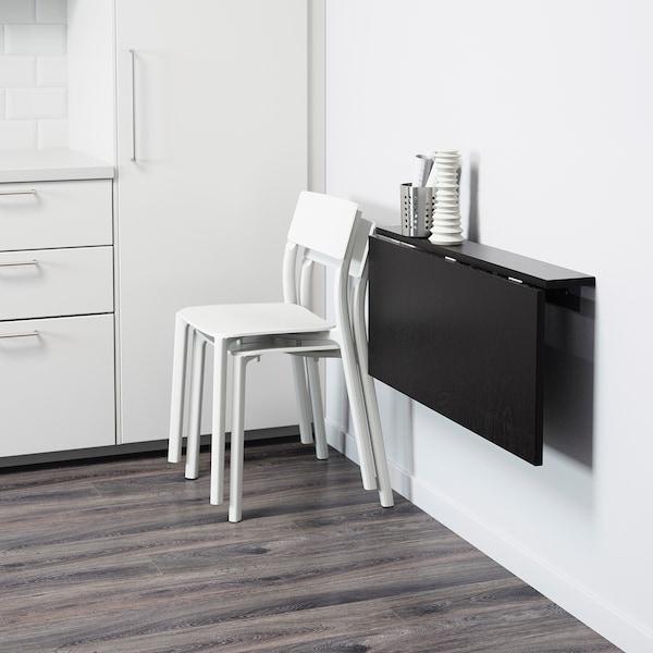 BJURSTA wall-mounted drop-leaf table brown-black 90 cm 50 cm 10 cm