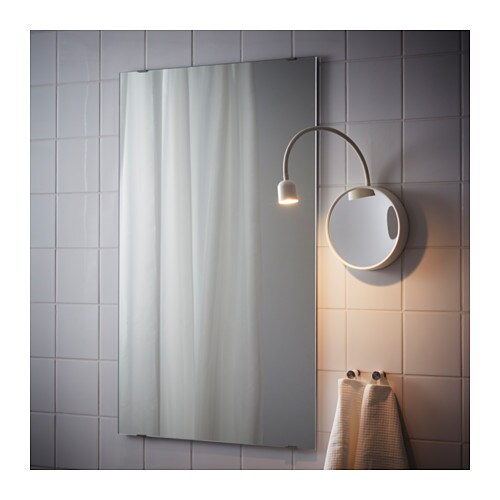BLÅVIK LED Wall Lamp With Mirror Battery-operated White