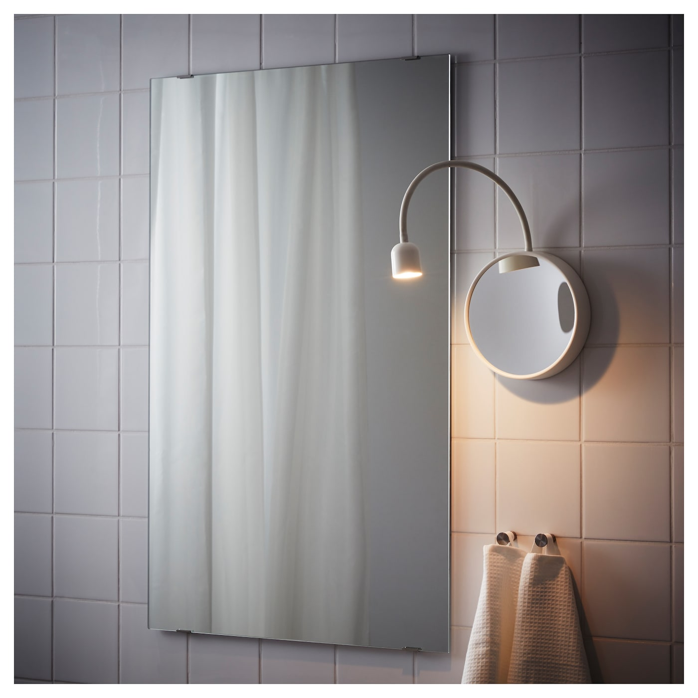 Led Wall Lamp Ikea: BLÅVIK LED Wall Lamp With Mirror Battery-operated White