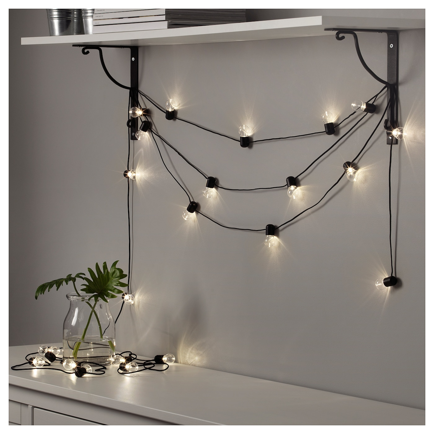 Bltsn Led Lighting Chain With 24 Lights Indoor Black Ikea High Power Mood Lamp Creates A Soft Cosy Light In