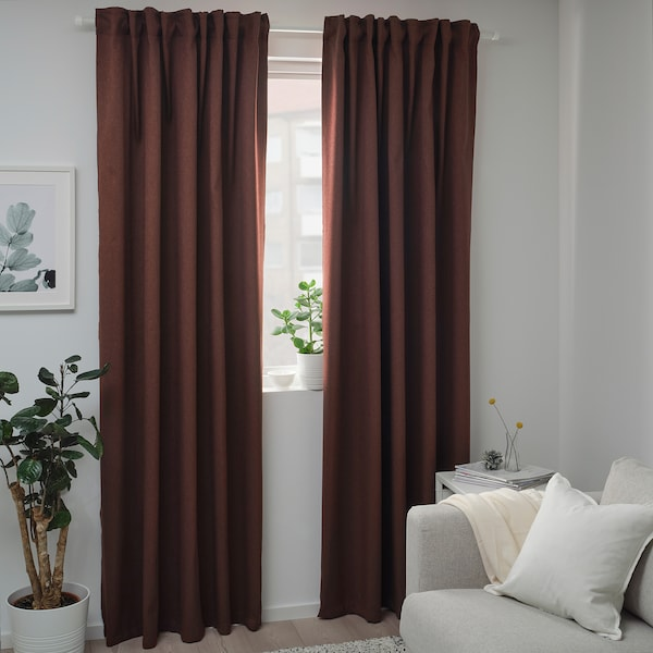 BLÅHUVA Block-out curtains, 1 pair, brown-red, 145x250 cm